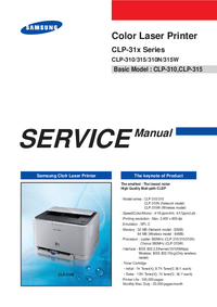 Service Manual Samsung CLP-31x Series
