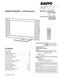 Service Manual Sanyo LCD-27XL2B
