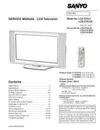 Руководство по техническому обслуживанию Sanyo LCD-27XL2