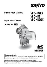 Manual do Usuário Sanyo VPC-HD2