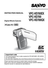 User Manual Sanyo VPC-HD700