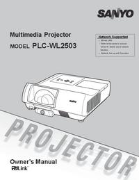 User Manual Sanyo PLC-WL2503