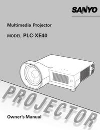User Manual Sanyo PLC-XE40