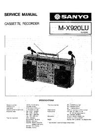 Serviceanleitung Sanyo M-X920LU