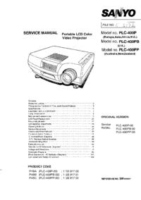 manuel de réparation Sanyo PLC-400PP