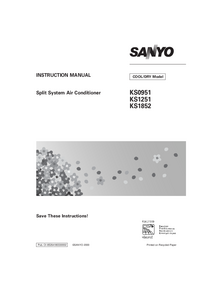 User Manual Sanyo KS1852