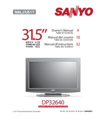User Manual Sanyo DP32640