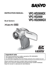 User Manual Sanyo VPC-HD2000GX