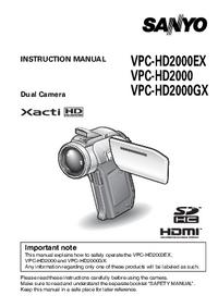 User Manual Sanyo VPC-HD2000EX