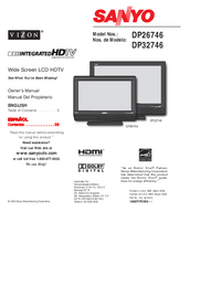 User Manual Sanyo DP26746
