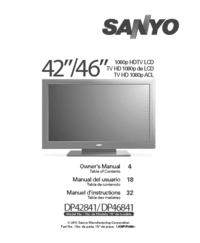 Gebruikershandleiding Sanyo DP46841
