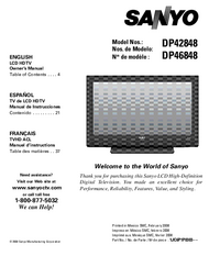 User Manual Sanyo DP46848
