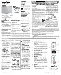 User Manual Sanyo FVM3982