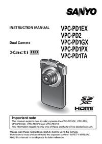 Instrukcja obsługi Sanyo VPC-PD1TA