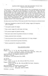 Serviço e Manual do Usuário Sencore FE16