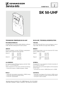 Serviço Manual Supplement Sennheiser SK 50-UHF