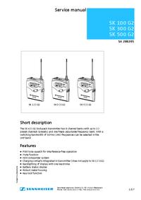 Руководство по техническому обслуживанию Sennheiser SK 100 G2