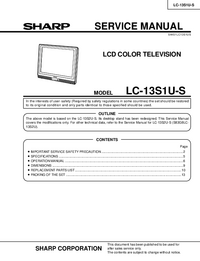 Service Manual Sharp LC-13S1U-S