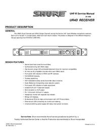 Servicehandboek Shure UR4D