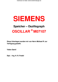 Service and User Manual Siemens OSCILLAR M07107