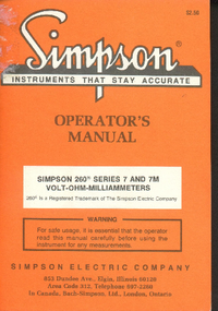 Service and User Manual Simpson 260 Series 7