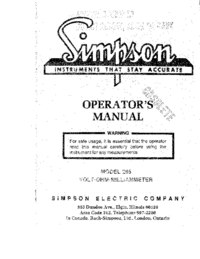 Service and User Manual Simpson 265