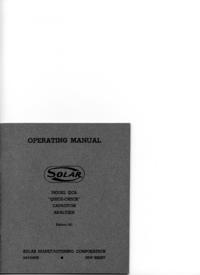 Обслуживание и Руководство пользователя Solar QCA