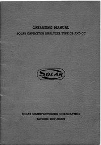 Service and User Manual Solar CC