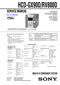 Service Manual Sony HCD-GX90D