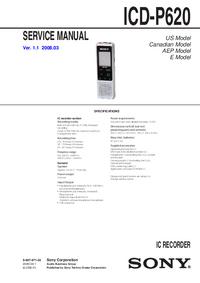 manuel de réparation Sony ICD-P620