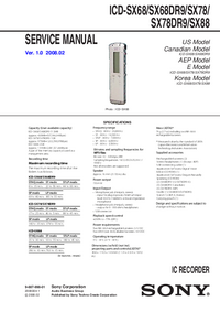 Service Manual Sony ICD-SX88