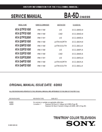 Service and User Manual Sony KV-29FS100