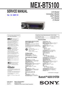 Service Manual Sony MEX-BT5100