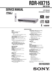 Manual de servicio Sony RDR-HX715