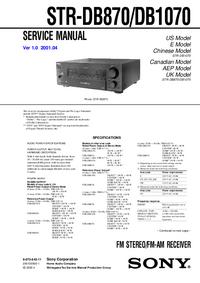 Руководство по техническому обслуживанию Sony STR-DB870