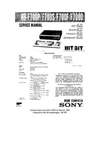 Instrukcja serwisowa Sony HB-F700S
