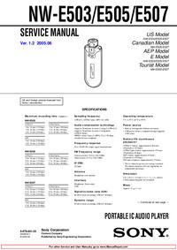 Servicehandboek Sony NW-E503