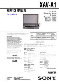 manuel de réparation Sony XAV-A1