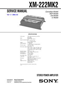 Manual de serviço Sony XM-222MK2