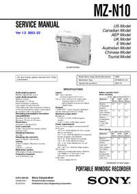 Servicehandboek Sony MZ-N10