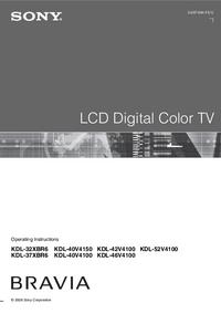 User Manual Sony KDL-32XBR6