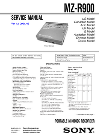 Service Manual Sony MZ-R900