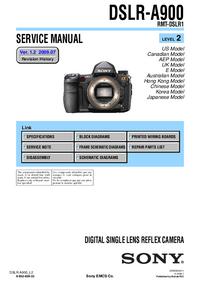 Manual de serviço Sony DSLR-A900