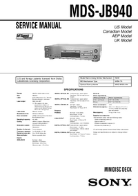 Service Manual Sony MDS-JB940