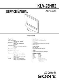 Serviceanleitung Sony KLV-23HR2