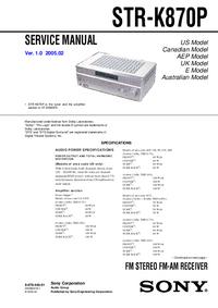 Instrukcja serwisowa Sony STR-K870P