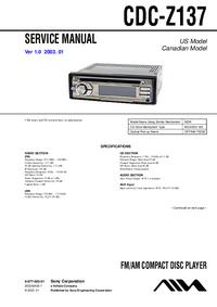 manuel de réparation Sony CDC-Z137