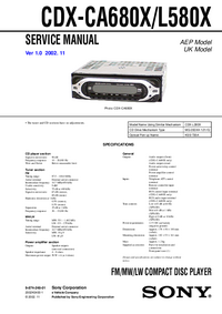 Manual de servicio Sony CDX-CA680X