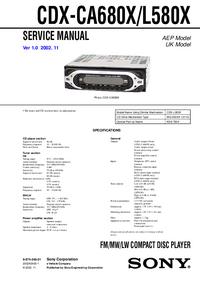 Manuale di servizio Sony CDX-L580X