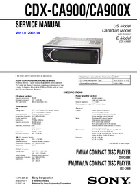Manual de servicio Sony CDX-CA900X